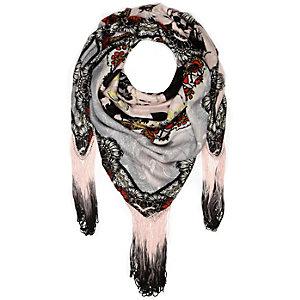 Cream floral print tasselled scarf