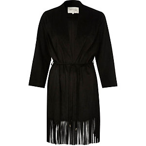 Black faux suede tassel kimono