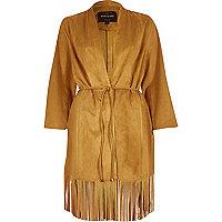 Brown faux suede tassel kimono