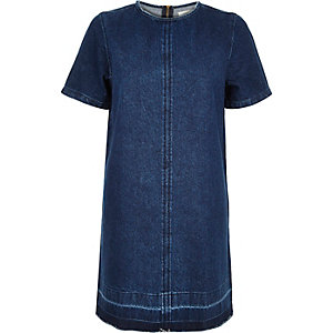 Blue denim raw hem t-shirt dress