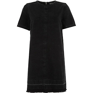 Black denim raw tassel hem t-shirt dress