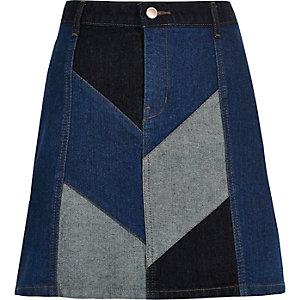 Denim patchwork mini skirt