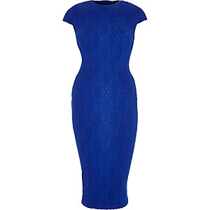 Bright blue textured sleeveless bodycon dress