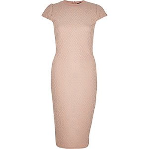 Light pink jacquard bodycon midi dress