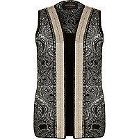 Black embellished vest