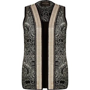 Black embellished vest