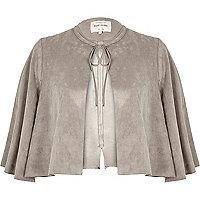 Grey faux suede cape