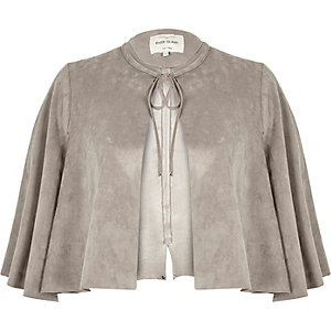 Grey faux suede cape