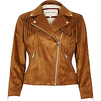 Brown fringed faux suede jacket