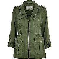 Khaki zip-up military jacket