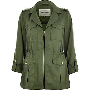 Khaki zip-up military jacket