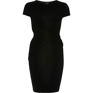 Black ruched wrap bodycon dress