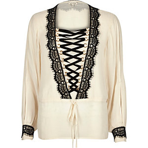 Cream lace-up blouse