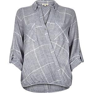 Blue check wrap front blouse