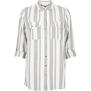 Grey stripe casual shirt