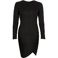 Black ribbed bodycon asymmetric dress
