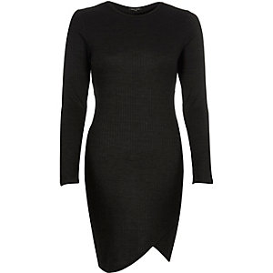 Black ribbed bodycon asymmetric dress