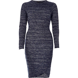 Navy ribbed wrap bodycon dress