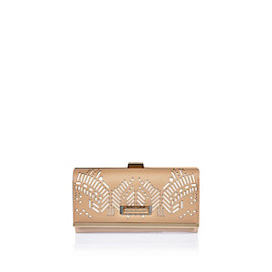 Beige laser cut cliptop purse