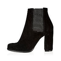 Black suede embellished heeled ankle boots