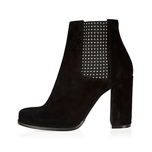 Black suede embellished heeled ankle boots