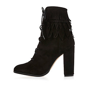 Black suede lace-up fringed heeled boots