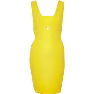 Yellow bodycon mini dress