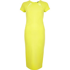 Yellow jersey lattice bodycon midi dress