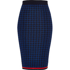 Navy Design Forum knitted pencil skirt