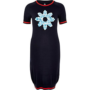 Navy Design Forum knitted flower dress