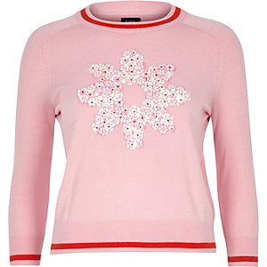 Pink Design Forum embellished flower jumper