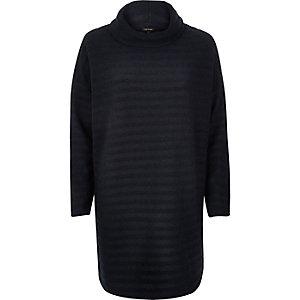 Navy ovoid cowl neck sweater dress