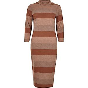 Brown stripe turtleneck bodycon dress