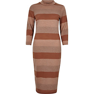 Brown stripe turtleneck bodycon dress