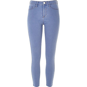Mid blue wash raw hem Molly jeggings