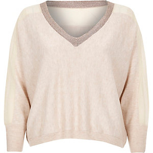 Beige knitted metallic trim jumper