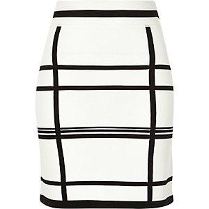 White check print skirt