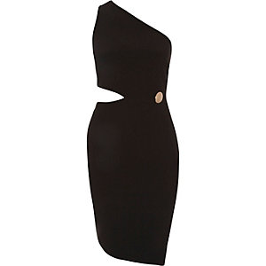 Black one shoulder cut-out bodycon dress
