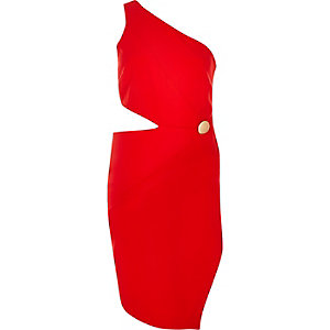 Red one shoulder cut-out bodycon dress