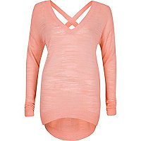 Pink slouchy knitted V-neck jumper