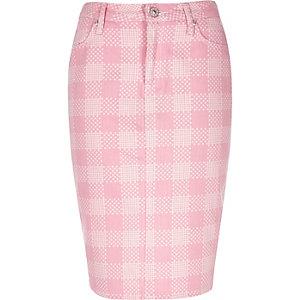 Pink Design Forum flower print denim skirt
