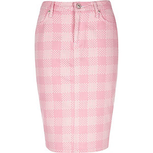 Pink Design Forum flower print denim skirt