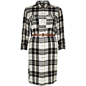Cream check belted shirt dress