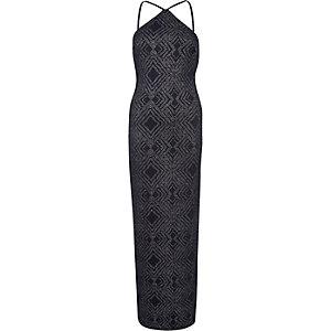 Navy sparkly bodycon maxi dress
