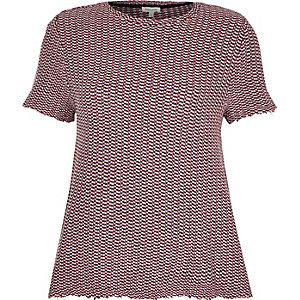 Pink textured t-shirt
