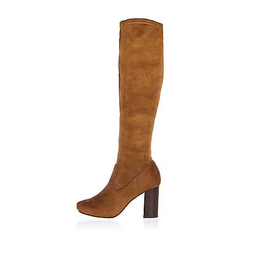 Tan faux suede heeled knee high boots