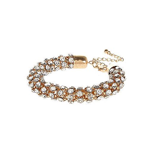 Gold tone gem encrusted rope bracelet