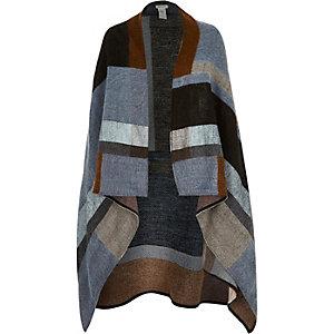 Blue block draped cape