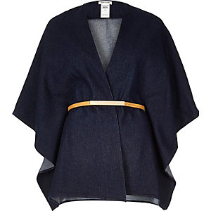 Dark blue denim belted cape