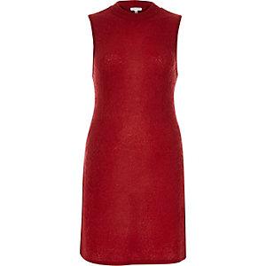 Red fluffy longline side split top